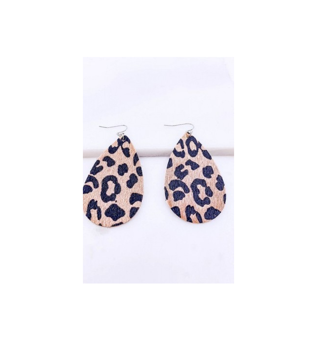 Dark Leopard Drop Earrings