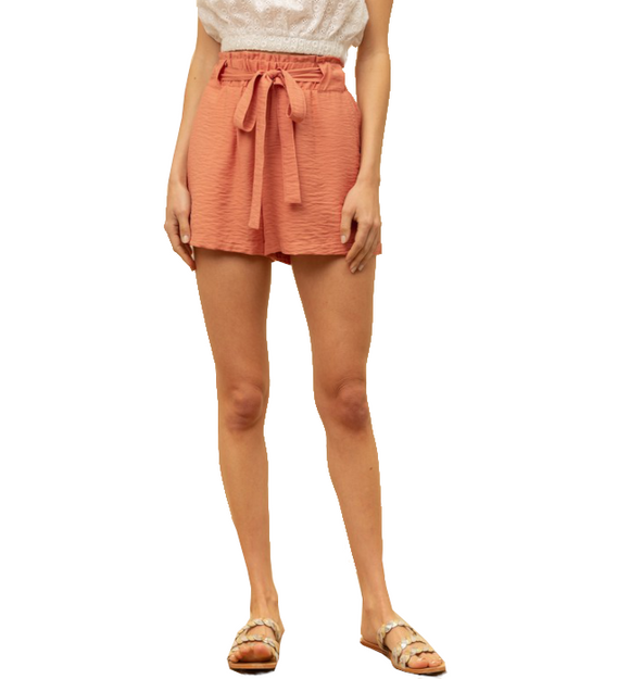 Coral Tie Waist Shorts - Hudson Square Boutique