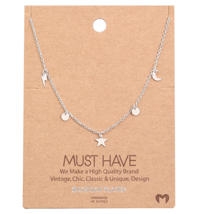 Silver Star Moon Bolt Necklace - Hudson Square Boutique