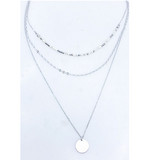 Layered Satin Plated Coin Charm Necklace