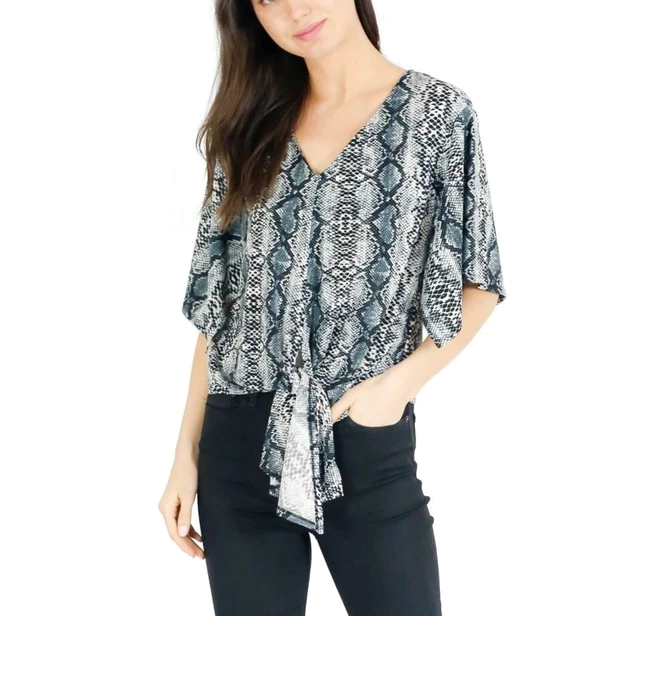 Wide Sleeve Tie Front Top