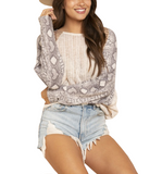 Ivory Knit Snakeskin Arms Top - Hudson Square Boutique LLC