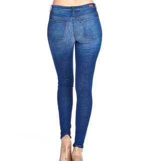 Medium Wash Mid Rise Skinny Distressed Denim