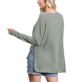 Olive Lace Up Neckline Top
