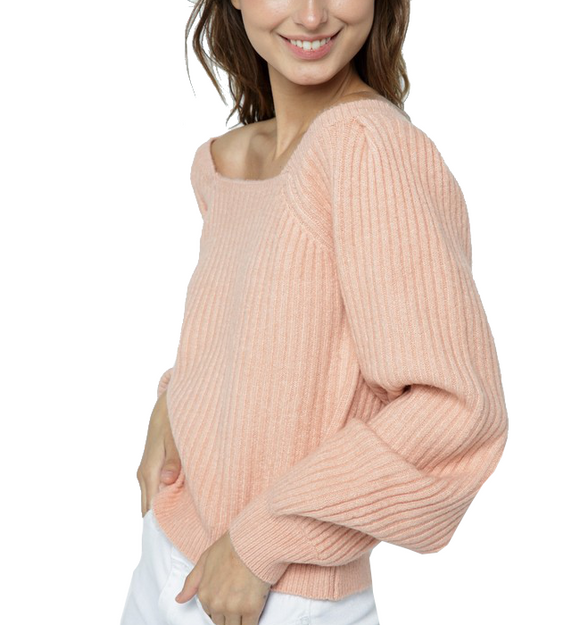 Ribbed Square Neck Sweater