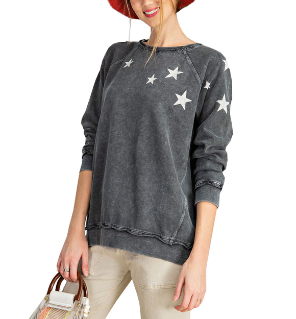 Washed Charcoal Star Pullover - Hudson Square Boutique