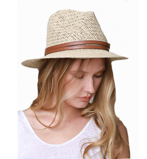 Woven Panama Hat with vegan leather band