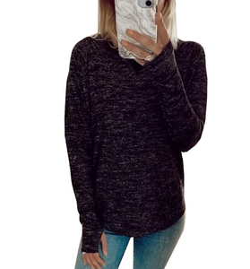 Streaky Thumbhole Pullover in Black