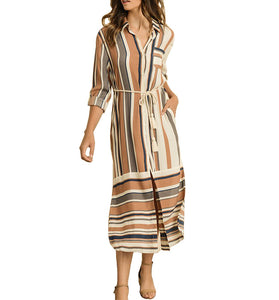 Striped Button Down Shirt Dress - Hudson Square Boutique