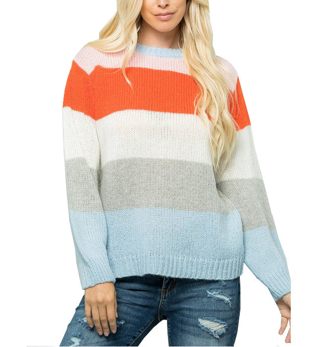 Pullover Colorful Striped Sweater