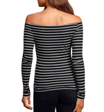 Capria Black and White Striped Off-the-Shoulder Top