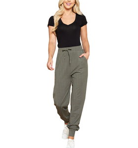 Olive Striped Casual Jogger - Hudson Square Boutique LLC
