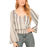 Striped Wrap Top + Smocked Waist - Hudson Square Boutique LLC