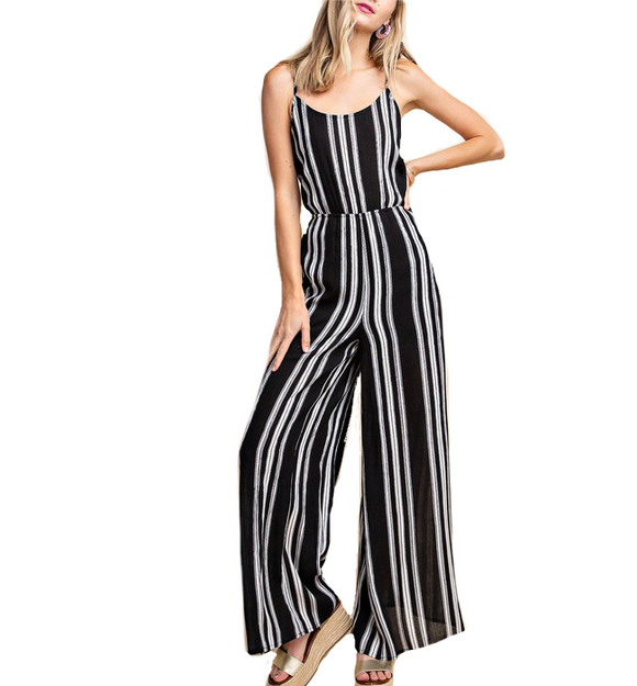 Black & White Striped Jumpsuit - Hudson Square Boutique
