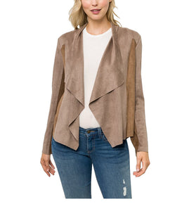 Collared Draped Suede Cardigan Jacket