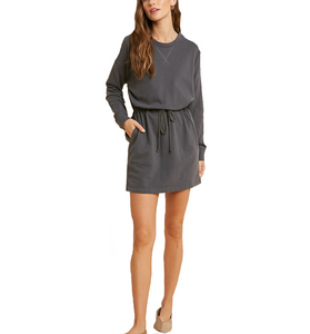 Charcoal Drawstring Waist Dress - Hudson Square Boutique LLC