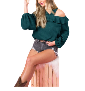 Sweetheart Open Shoulder Emerald Top