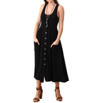 Black Button Front Tank Pocket Dress