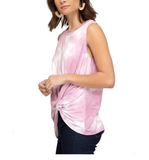 Super Soft Tie Dye Knot Front Top Pink - Hudson Square Boutique