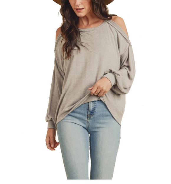 Soft Knit Cold Shoulder Top
