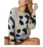 Taupe Printed Sweater - Hudson Square Boutique