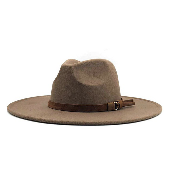 Wide Brim Panama Hat with Strap