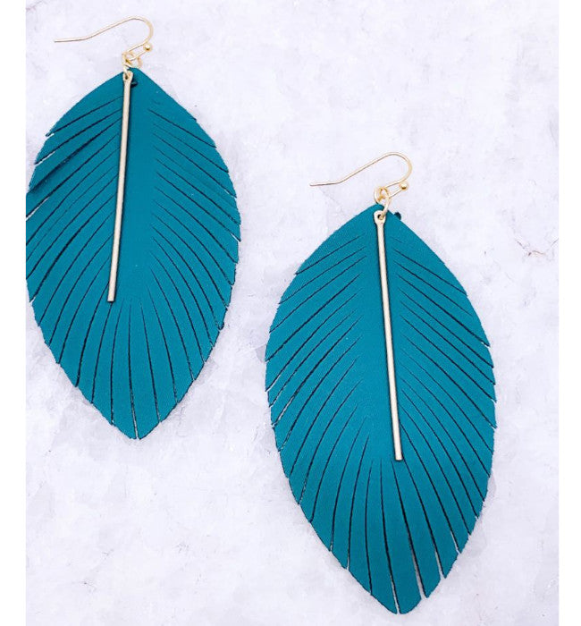 Teal Fringe Bar Drop Earrings