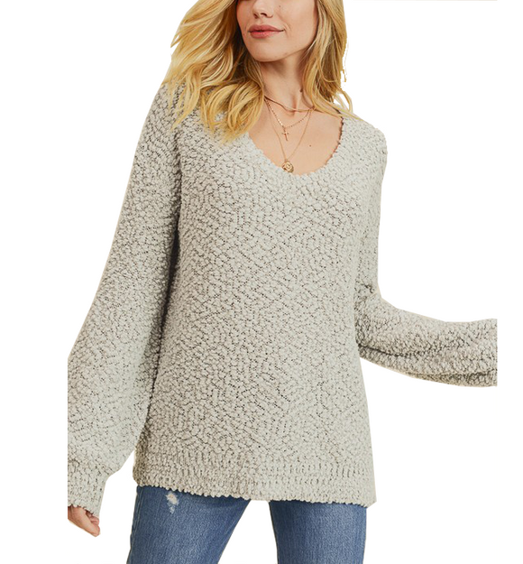 Light Sage V-Neck Pullover