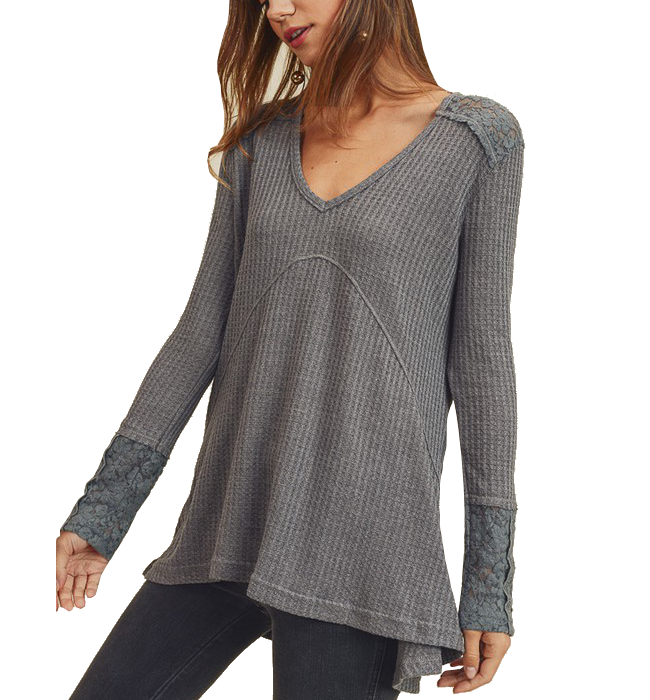 Waffle Knit with Lacey Sleeve in Charcoal