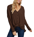 Waffle Knit Button Front Sweater - Hudson Square Boutique