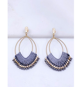 Boho Drop Earrings in Grey - Hudson Square Boutique