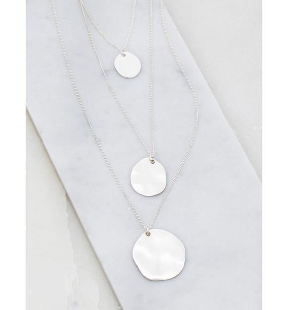 3 Layer Hammered Disk Necklace - Hudson Square Boutique LLC