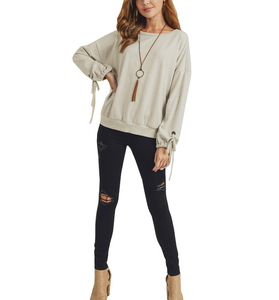 Ash Cream Pullover Balloon Sleeve Top