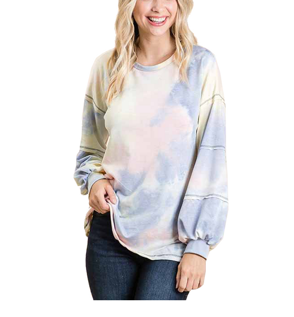 Yellow & Pink Tie Dye Top
