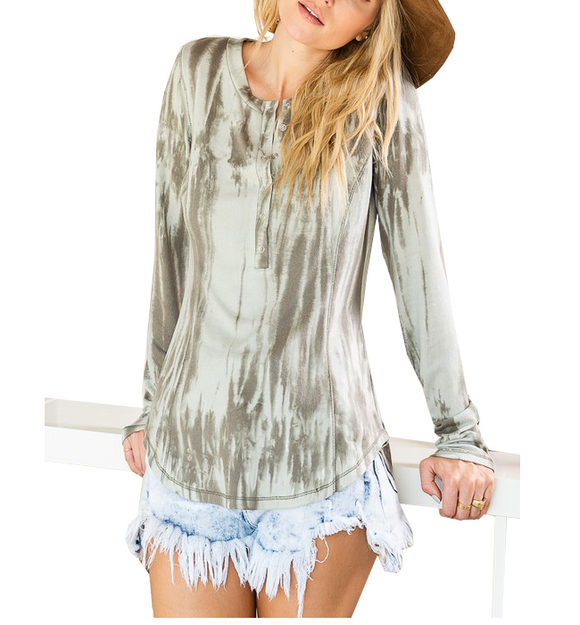 Olive Tie Dye Snap Front Top
