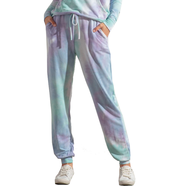Blue & Purple Tie Dye Lounge Joggers - Hudson Square Boutique