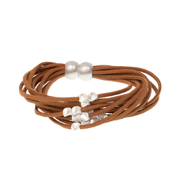 Suede Multi Row Bead Bracelet - Hudson Square Boutique