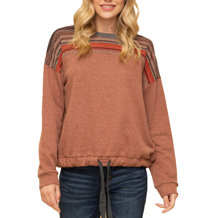 Frontier Tribal Sweater with Drawstring