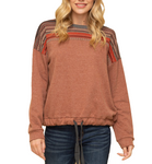 Frontier Tribal Sweater with Drawstring - Hudson Square Boutique