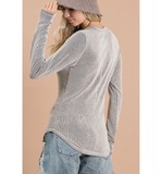 Gray Ribbed Henley Top - Hudson Square Boutique LLC