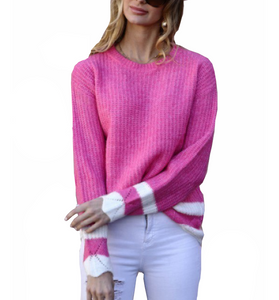 Fuchsia Varsity Sweater - Hudson Square Boutique