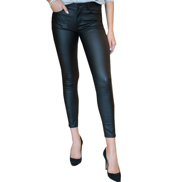 Black Coated Skinny Cigarette Pants - Hudson Square Boutique