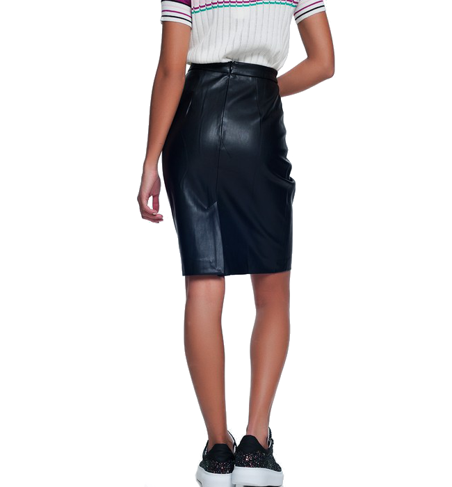 High Waisted Vegan Leather Skirt