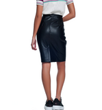 High Waisted Vegan Leather Skirt - Hudson Square Boutique