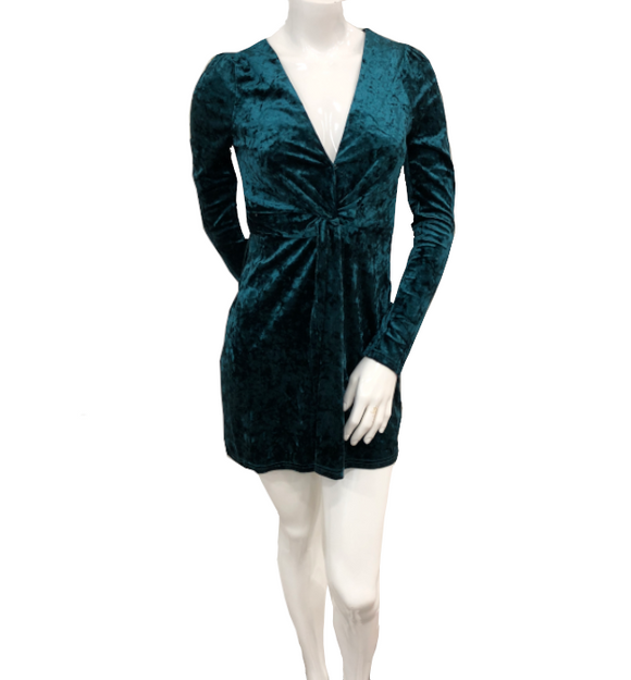 Hunter Green Velvet Dress - Hudson Square Boutique