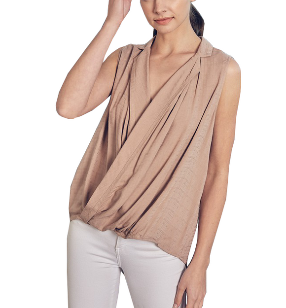 Sleeveless Wrap Top in Latte - Hudson Square Boutique