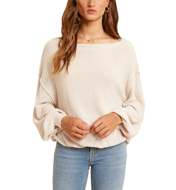 Nude Boat Neck Waffle Top
