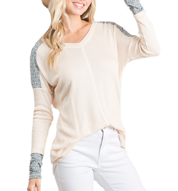 Waffle V Neck with Detailed Sleeve