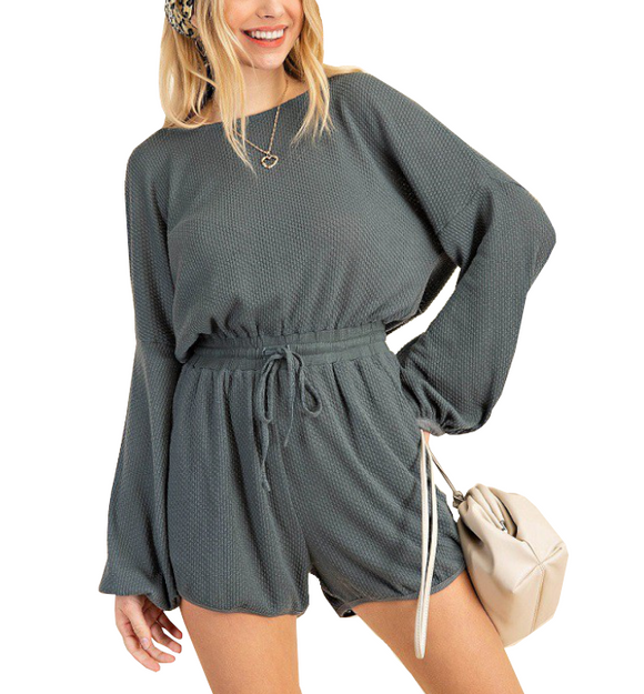 Charcoal Teal Long Sleeve Romper - Hudson Square Boutique LLC