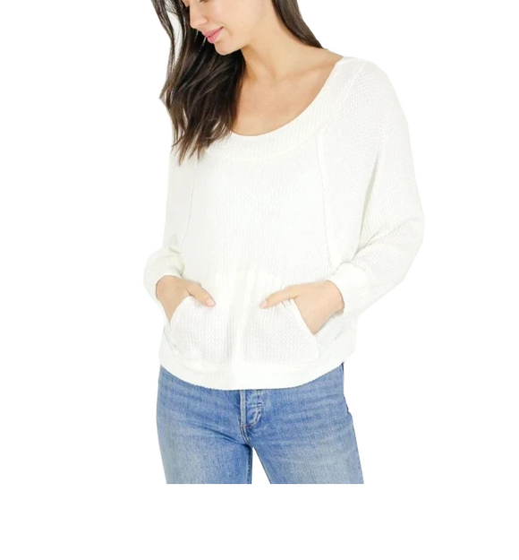 Scoop Neck Pocket Waffle Top - Hudson Square Boutique